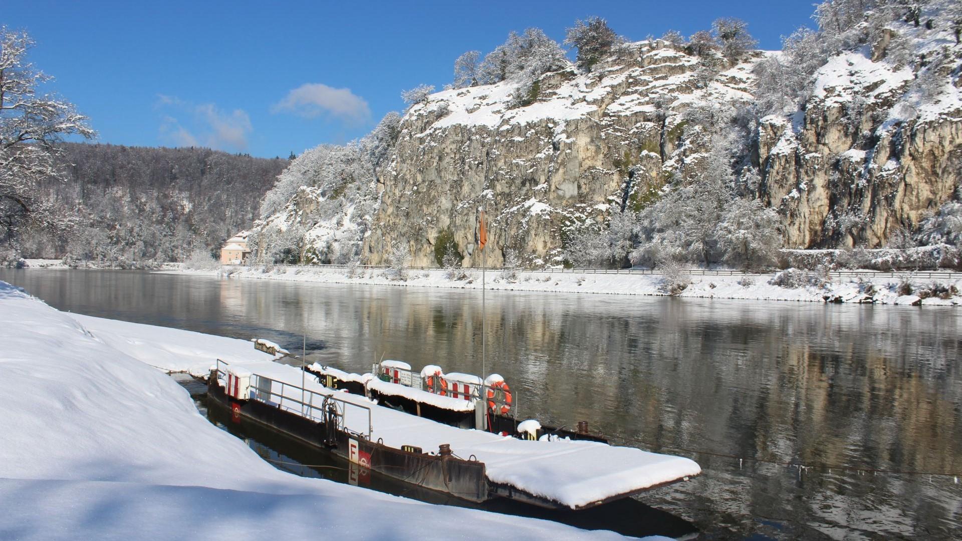 Seilfähre Weltenburg im Winter