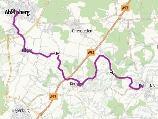 Streckenverlauf - Radlsommer Abensberg - Rohr i.NB