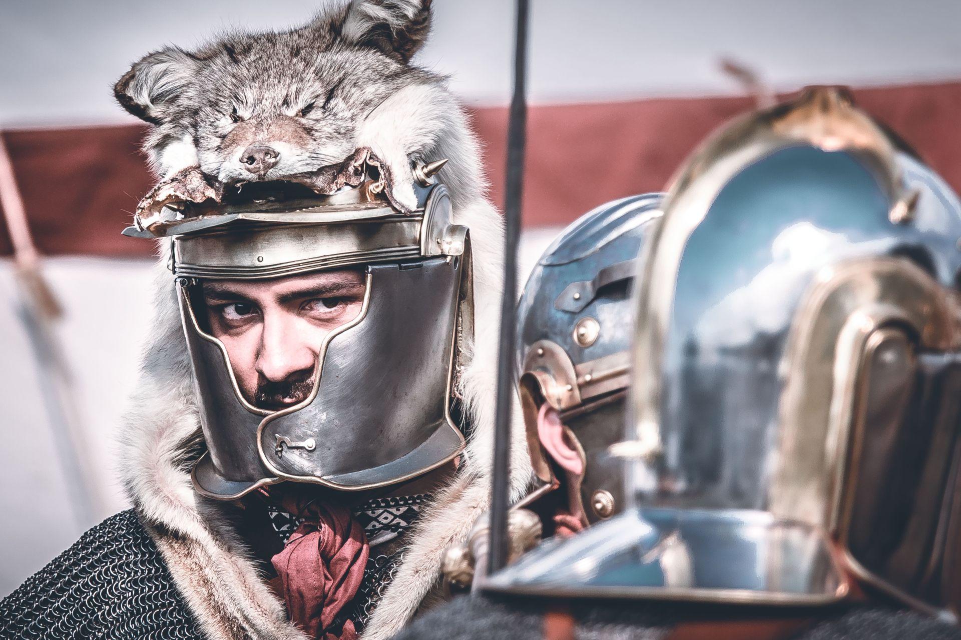 Krieger beim Römerfest Salve Abusina in Eining bei Bad Gögging