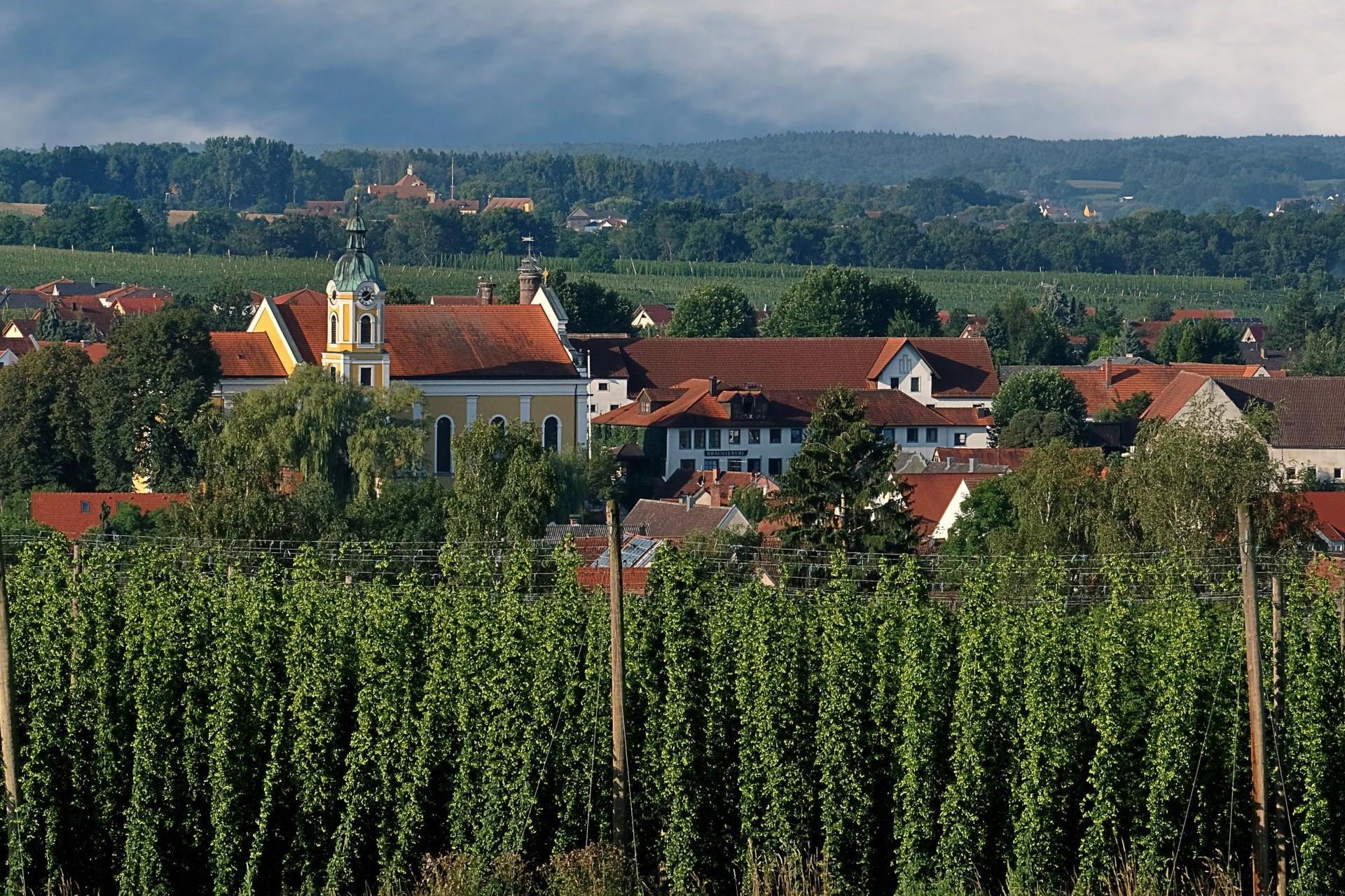 Blick auf Siegenburg und den Dom der Hallertau