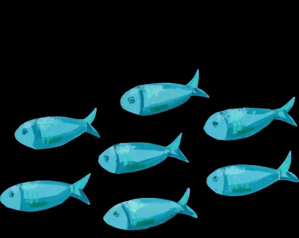 Sieben selbst gezeichnete blaue Fische