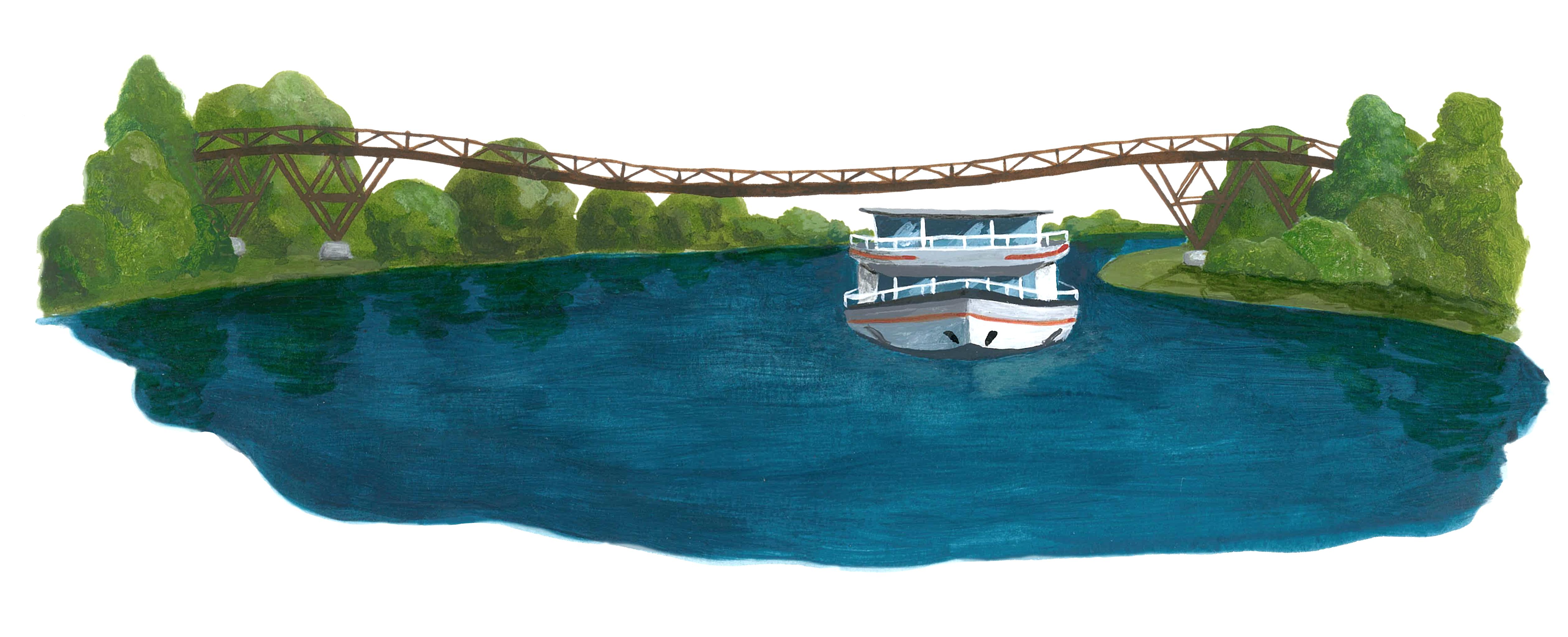 Illustration Tatzlwurm mit Schiff