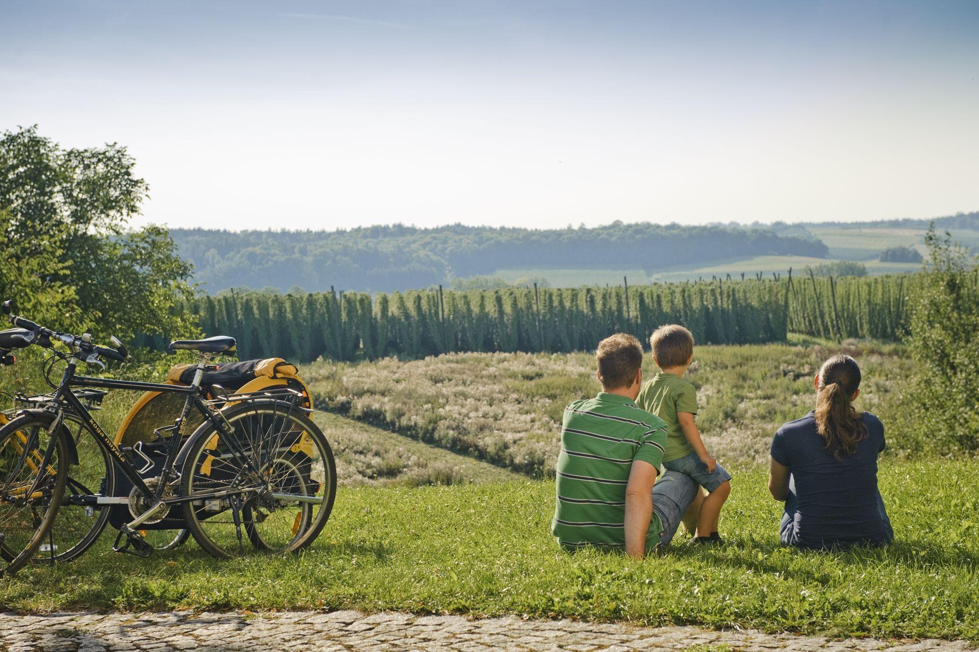 Radfahren in der Hallertau - Familie
